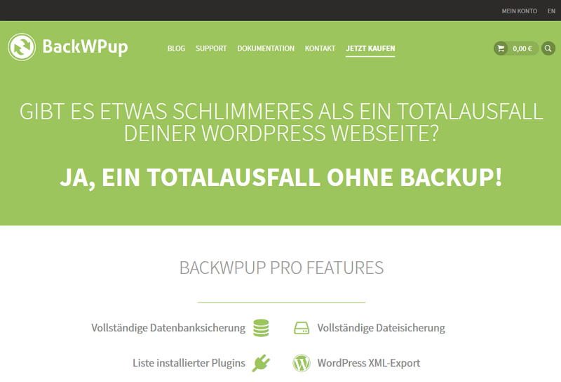 WordPress Plugin BackWPup Webseite