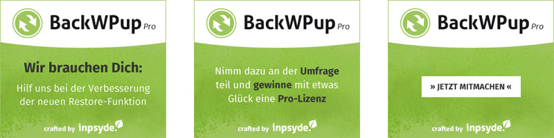 3 Millionen Downloads BackWPup - Restore Umfrage