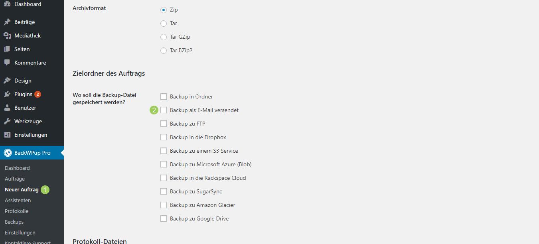 Bearbeite den Auftrag und setze im Tab Allgemein, Abschnitt Zielordner des Auftrags, den Haken bei Backup als E-Mail versendet