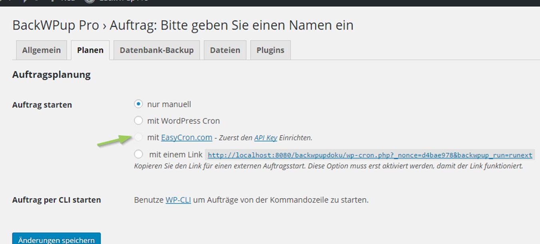 BackWPup Backup Jobs laufen nicht mit WP Cron alternativ Auftrag starten mit EasyCron