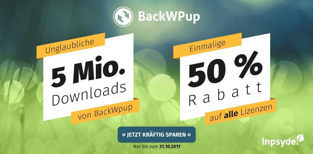 5 Millionen BackWPup downloads, die wir mit einem Rabatt feiern.