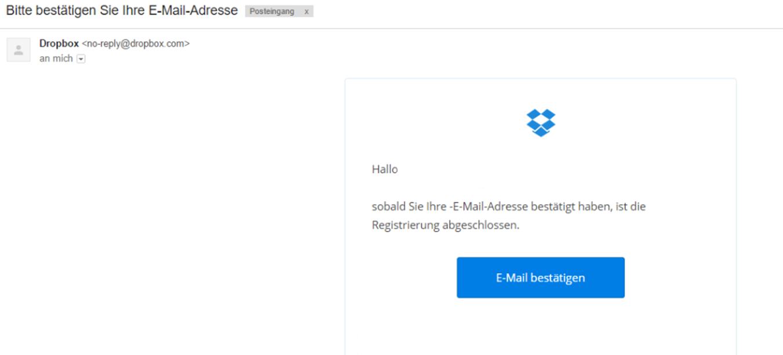 Dropbox Account erstellen - E-Mail für die Bestätigung der Registrierung