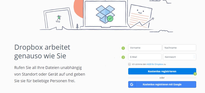 Dropbox Account erstellen - Besuche dropbox.com und registriere dich