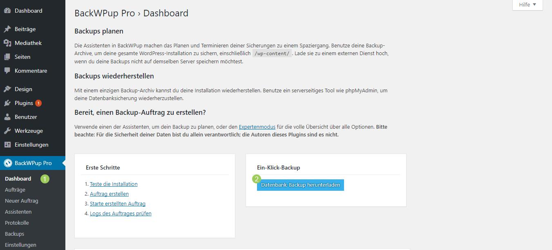 Datenbank-Backup herunterladen