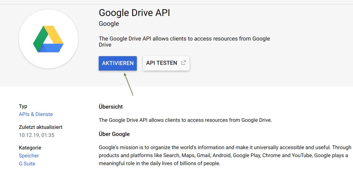 Google Drive API aktivieren