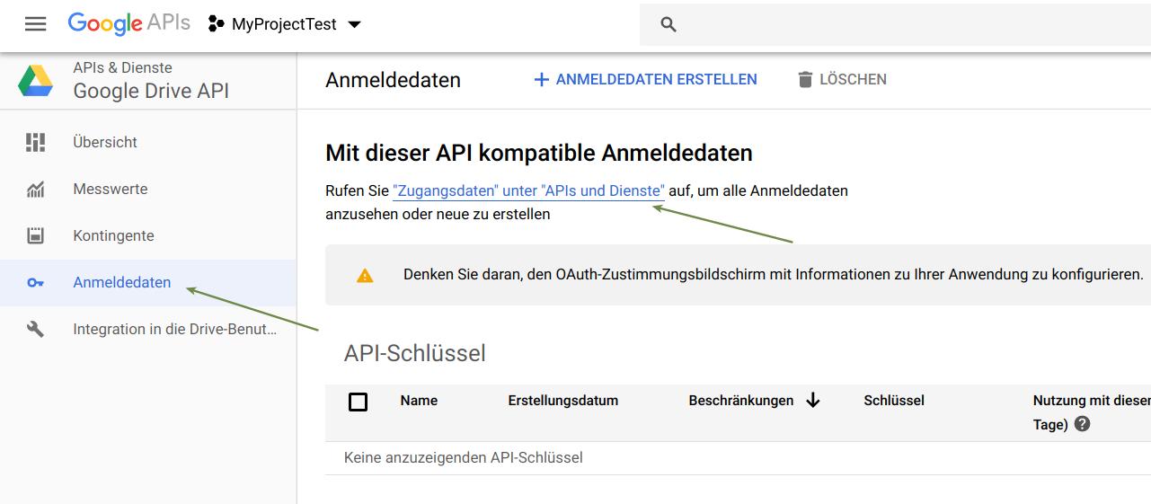 Google Drive Anmeldedaten generieren