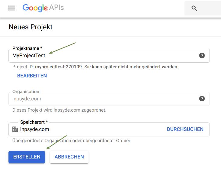 Ein neues Google Drive Projekt erstellen
