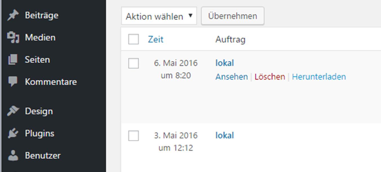 Log-Datei unter BackWPup