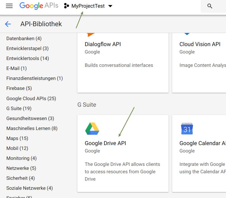 Projekt und Google Drive API auswählen