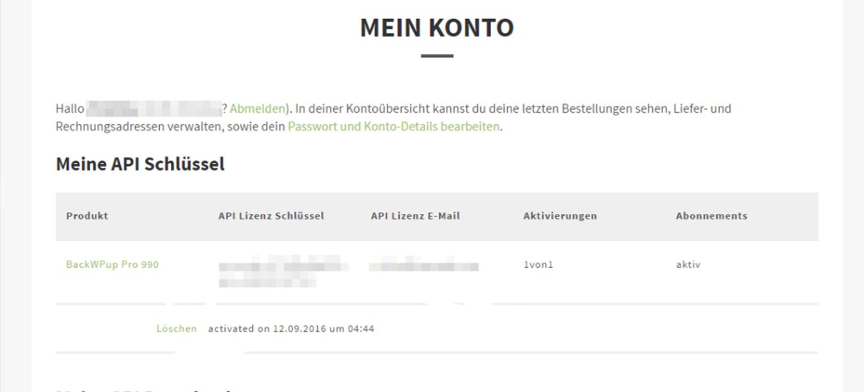BackWPup Kundenkonto- Aktivierung einer Lizenz
