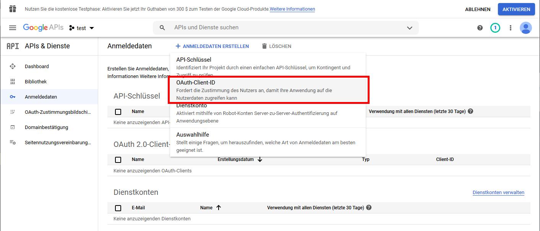 Button ANMELDEDATEN ERSTELLEN im Google APIs Dashboard