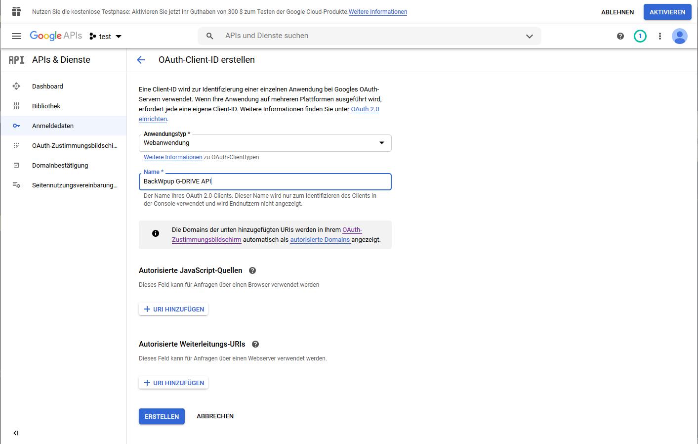 Menü zum Erstellen einer OAuth Client ID in Google APIs