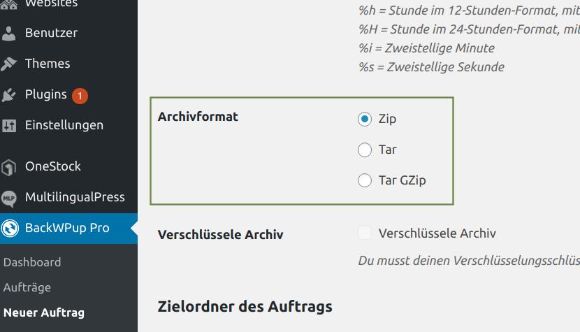 Backup-Archivformat einstellen: BackWPup → Neuer Auftrag → Archiv-Format