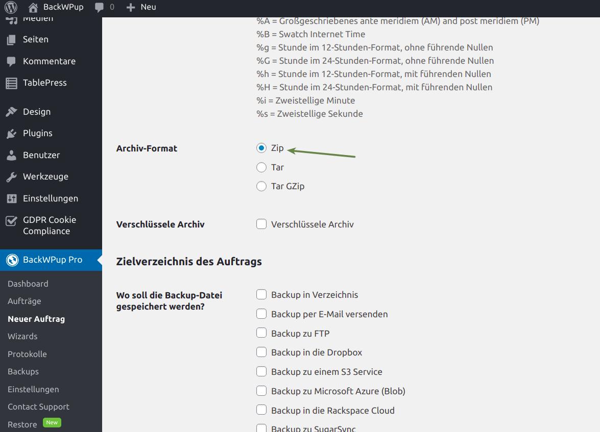 Dateiname zu lang - Zip als Archivformat auswählen