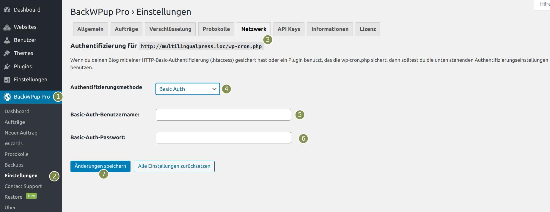 BackWPup Einstellungen für Backup mit HTTP-Basic-Authentifizierung (.htaccess)