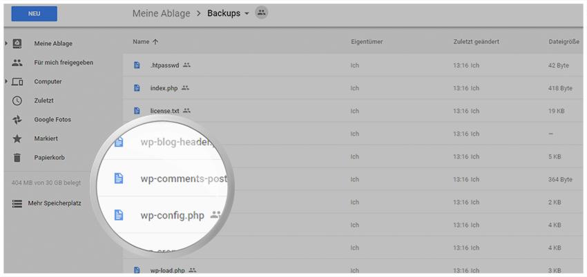 Synchronisierte WordPress Daten liegen ungepackt in Google Drive vor