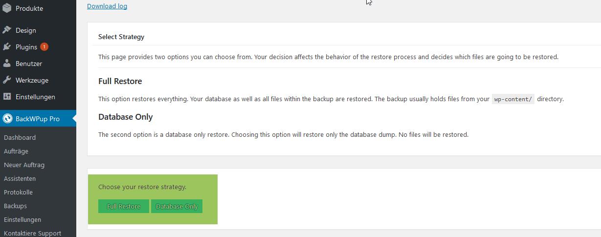 Du kannst bei der BackWPup Restore Funktion zwischen einem vollständigen Backup und einem Datenbank-Backup wählen.