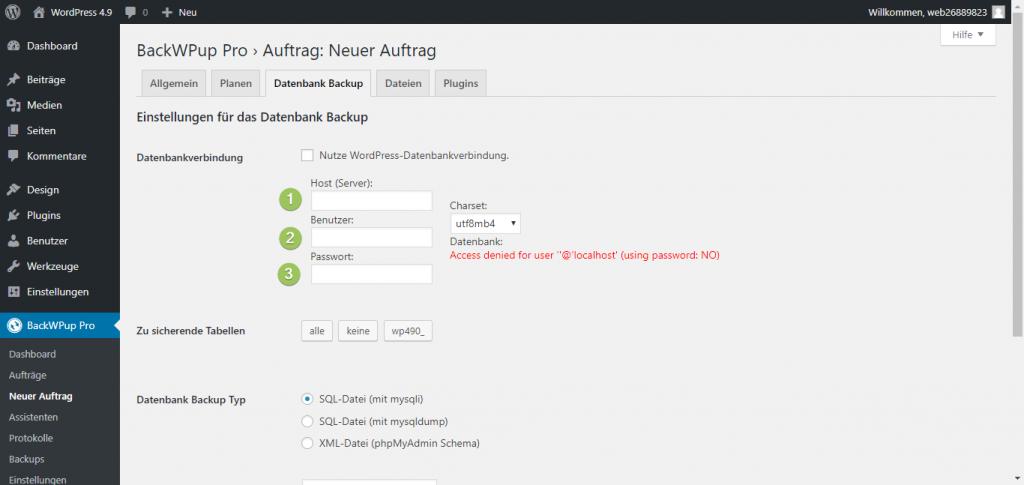 Zusätzliche Datenbank mit BackWPup sichern - Host, Benutzer und Datenbank-Passwort angeben