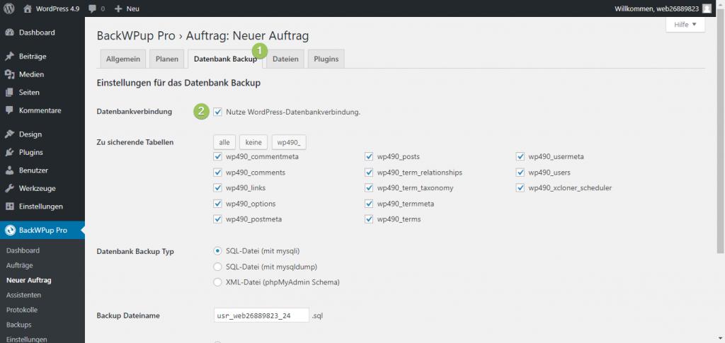 Zusätzliche Datenbank mit BackWPup sichern - Haken raus bei Nutze WordPress-Datenbankverbindung