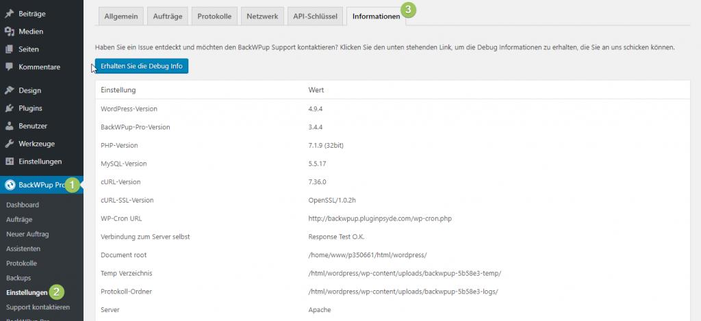BackWPup Backup Jobs laufen nicht Einstellungen WP Cron überprüfen