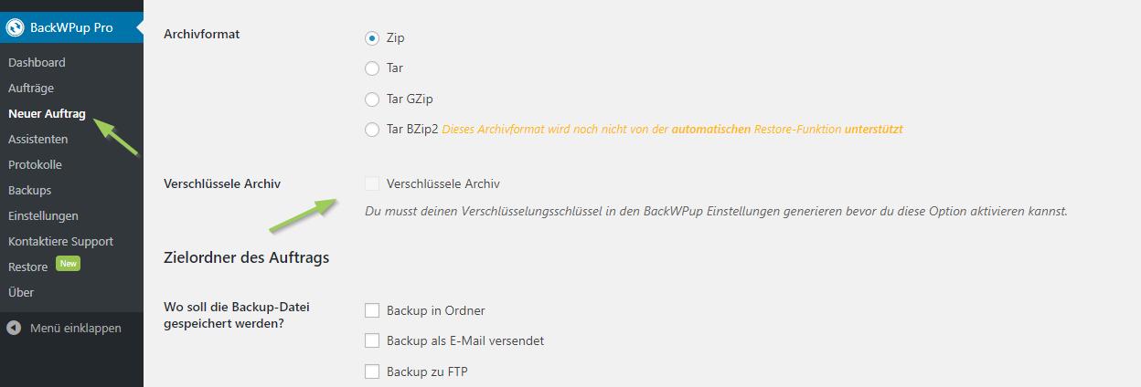 Verschlüsselung für Backups aktivieren