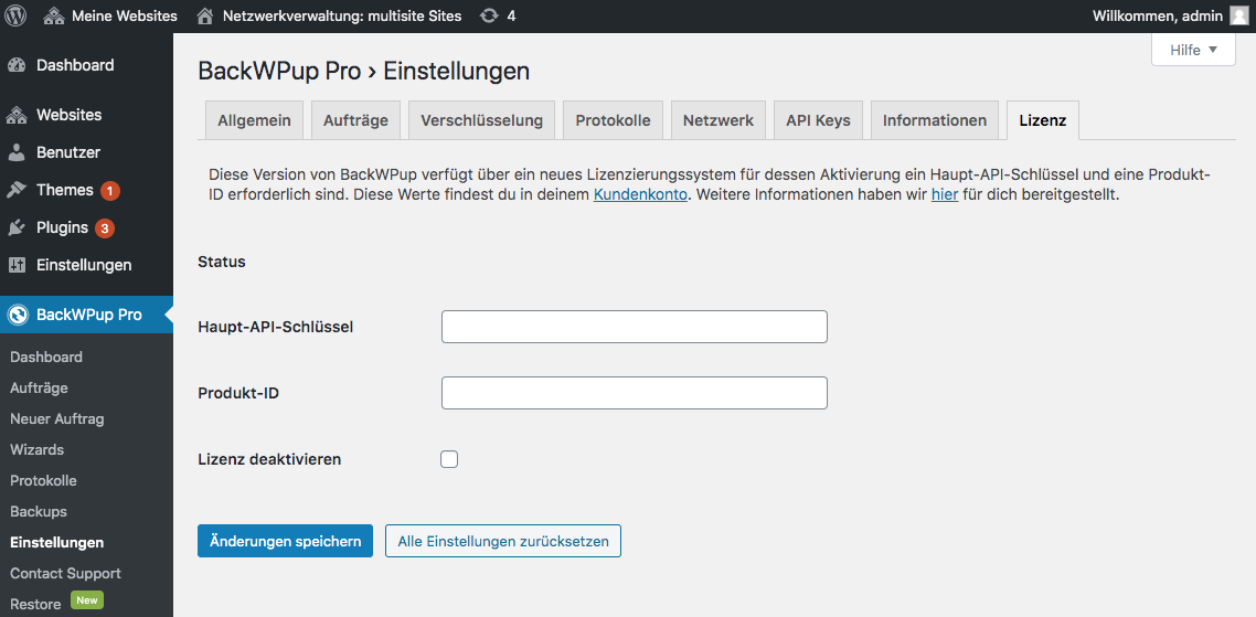 BackWPup Pro API Key Aktivierung