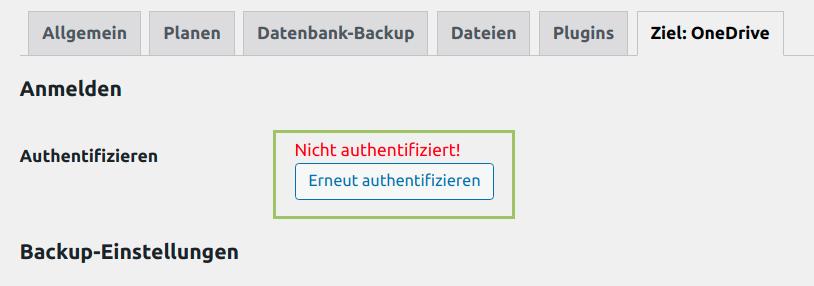 Authenticate Button für OneDrive