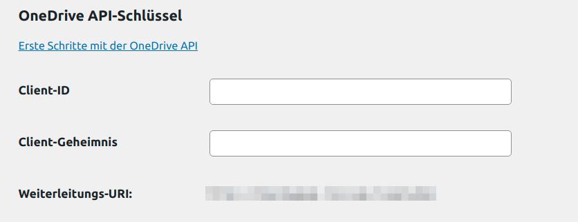 OneDrive API Key Einstellungen