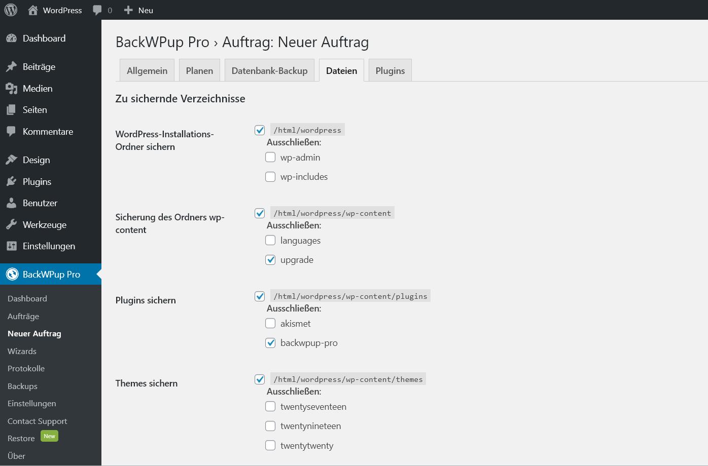 Einstellungsseite für zu sichernde Verzeichnisse im Backend unter Backwpup, neuer Auftrag, Dateien